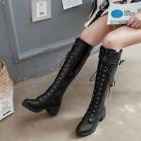 Knee High Women Boots Block Heel Round Toe Lace Up Punk Casual Strappy Shoe Size