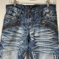 Kosmo Lupo K & M  Italian Jeans Men's Sz 32/33 Embroidered Distressed Acid Wash
