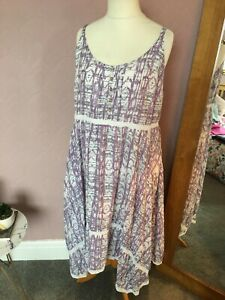 Mantaray Pretty Vintage Lilac Mixed Detailed Summer Dress  Size 22