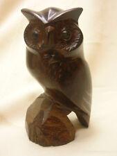 "Vintage Wood Carved Owl Dark Wood 4 1/2"" Bird Figurine Ornate Detailing"