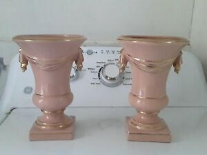 """Pair Ornate 1940s Ornate Art Deco Pottery Vase Planters, Pink And Gold, 8"""",  VG"""