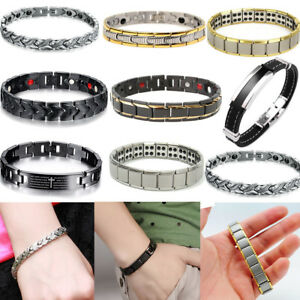 316L Titanium Steel Magnetic Therapy Energy Bracelet Men Health Care Gift   A