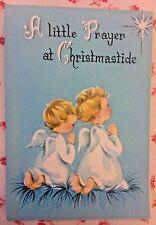 Vintage 1950s Xmas Greeting Card Cute Little Barefoot Angels Kneeling in Prayer