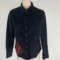 Harley Davidson women's shirt top black corduroy size extra large Red