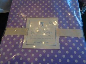 Pottery Barn kids  Mini Dot duvet full queen lavender new with tags