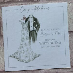 PERSONALISED Handmade  WEDDING DAY Congratulations CARD Sparkles SK1