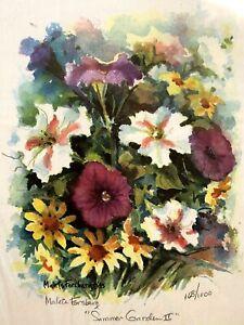 Vtg 1985 Maleta Forsberg Summer Garden II Print Signed & Nbrd 168/1000 Kansas