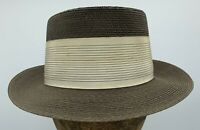 e444285b Vintage Adam Regent Fedora Style Brown Straw Hat with Cream Band Size 6 7/8