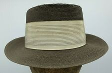 Vintage Adam Regent Fedora Style Brown Straw Hat with Cream Band Size 6 7/8