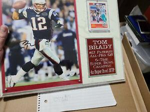 Tom Brady Patriots Autographed plaque  G.O.A.T