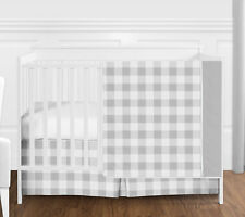 Grey and White Buffalo Plaid Check Baby Boy Girl Bumperless 4pc Crib Bedding Set