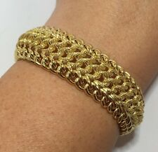 Vintage 18k Yellow Gold Curb Gucci Link Chain Wheat Tennis Wide Bracelet 6.5""