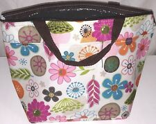 Insulated Lunch Sack Bag Tote Cooler Bright Floral Handles Pockets Zipper Close