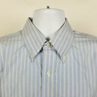 Brooks Brothers Traditional Fit Non Iron Blue Striped Mens Dress Shirt 16.5 - 32