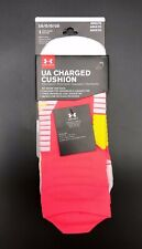 Under Armour UA Charged Cushion No Show Tab Socks Adult Large Pink Mens 9-12.5