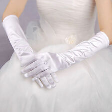 Paire de gants longs satin pour mariage : LONG 40 cm - coloris blanc
