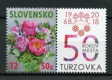 Slovakia 2018 MNH Turzovka 50 Years 1v Set + Label Flowers Personalised Stamps