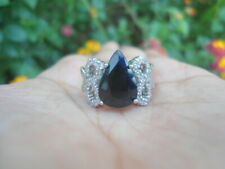 Natural Blue SAPPHIRE 9X13MM & CZ 925 STERLING SILVER RING S5.5 ChunKy Bold Big