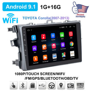 For Toyota Corolla 2007-2013 GPS Navigation Android 9.1 Car Stereo Radio WIFI BT
