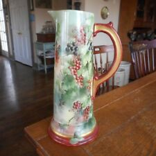 """Vintage Limoges B & Co. 14"""" Tankard Pitcher-Hand Painted Green Purple Red Grapes"""