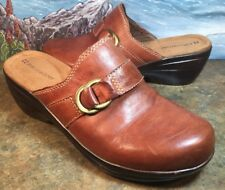 NATURALIZER Mules Brown Leather Size 8M LIAL 50016-5 Women's Mules Clogs