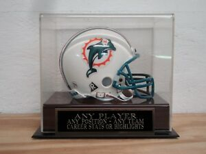 Custom Engraved Nameplate And A Football Mini Helmet Display Case For Any Player