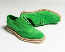 Kiton $1,590 Bright Green Suede Leather Wingtip Brogue Dress Shoes 7.5 US