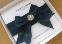 Luxury Scottish Tartan Wedding Invitation with Diamante - Boxed - Many Clans