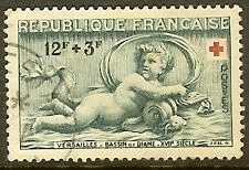 "FRANCE TIMBRE STAMP N°937 ""CROIX ROUGE, DIANE 12F+3F"" OBLITERE TB"