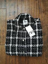 Zara Black and White Oversized Check Shirt/Jacket/Cardigan