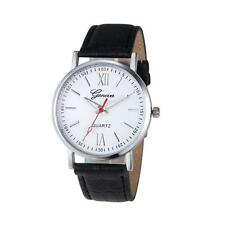 NEW Men's Watch Geneva Leather Analog Stainless Steel Quartz Wrist Watch