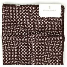 Brunello Cucinelli Burgundy Silk Blend Pocket Square