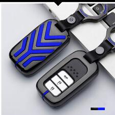 Grey Gun Alloy Blue Smart Key Fob Cover Case Shell For 15+ 10th Gen Honda Civic