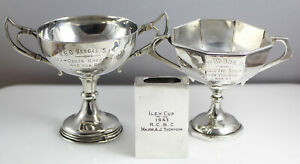 2 x Antique Military Solid Silver Trophy + Matchbox Holder Major A.J Thompson