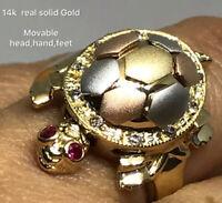 14K Solid Trois Tone Gold CZ Sept Jour//Semanario Large Fancy Lady/'s ring