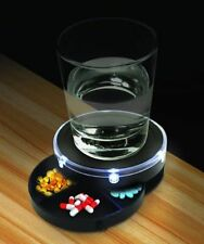 Pill Box Nightstand Caddy Sound Activated LED Light Lighted Holder Container Bed