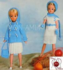 Knitting Pattern • SINDY BARBIE • DOLLS CLOTHES DUFFLE COAT SKIRT BAG DRESS CAP