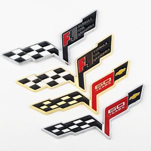 1x F1 60 Years Cross Flags Sticker Badge Chrome Emblem for Corvette Chevrolet C6