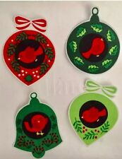 Set Of 8 Cardinal Christmas Ornaments - Iron On Fabric Appliques