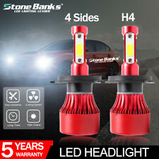 2 x H4 HB2 9003 72W 16000LM 4-Sides LED HEADLIGHT HIGH LOW BEAM BULBS 6000K