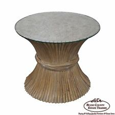 McGuire Style Rattan Wheat Sheaf Glass Top Side Table