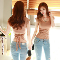 Sexy Women Ladies Slim Short Sleeve Blouse T Shirt Tops Backless Bow Summer