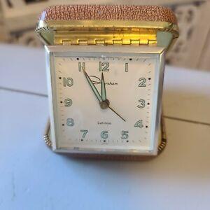Ingraham Luminous Travel Clock Flip Open Wind Up Alarm Clock Vintage