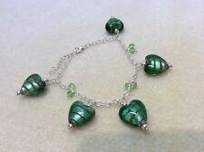 MURANO GREEN GLASS HEARTS & SWAROVSKI CYSTALS 925 STERLING SILVER BRACELET