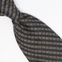Donna Karan Signature Wool Silk Necktie Gray Stripe Weave Soft Fuzzy Feel Tie