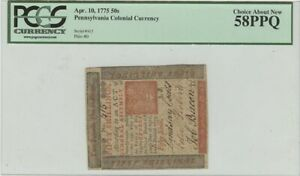 1775 50S Pennsylvania Colonial PCGS About New 58 PPQ Workhouse PA175