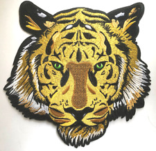 Large Green Eyes Tiger Animal Embroidered Iron On Fashion Patch 10X 10 inches