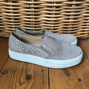 Skechers Shoes Flats Street UK 4.5 EU 37.5 Suede Leather Taupe Stars Plimsolls