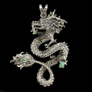 Unheated Oval Emerald 6x4mm Ruby Marcasite 925 Sterling Silver Dragon Pendant