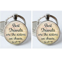 Best Friends are the Sisters We Choose Letter Crave Round Keyring Gift Jewely LD
